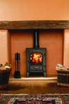 Matt Black Stockton 6 mark2, multi fuel version burning logs (straight on)_100611