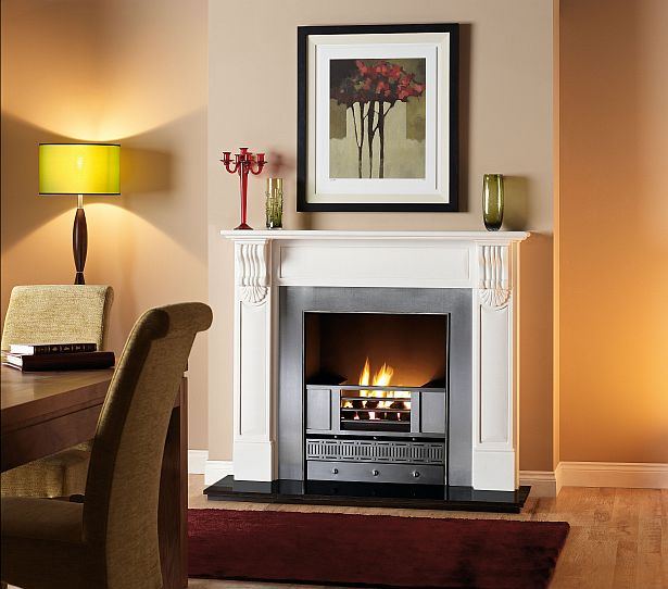 The Grosvenor marble fireplace in Liberty White Marble