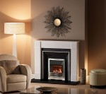 "The Hersham 54"" marble fireplace in Liberty White Marble"