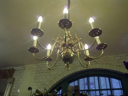 Dutch brass eight-arm chandelier.