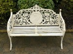 white cast iron bench